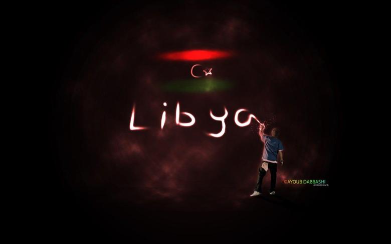 light men flags libya writing