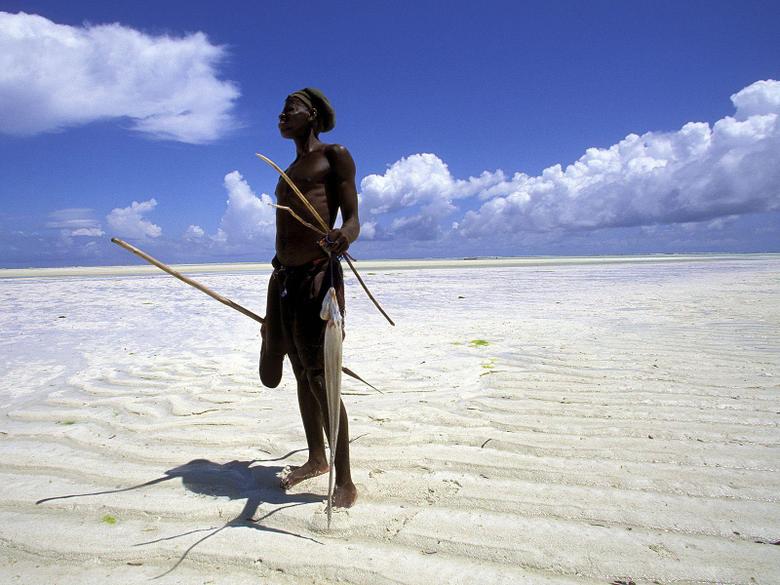 Fisherman on the Beach at low Tide Zanzibar Tanzania Africa