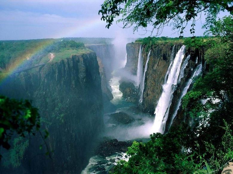 Zimbabwe Tag wallpapers Water River Rainbow Waterfalls Canyon