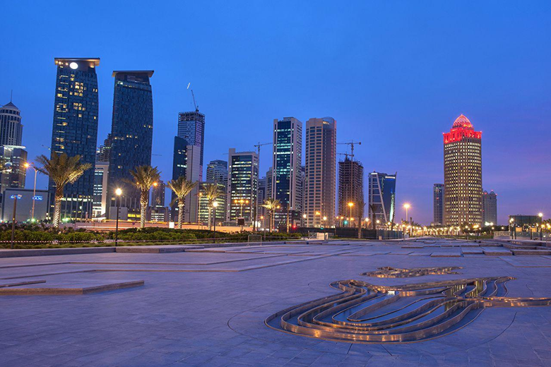 Wallpapers Doha Qatar Street Night Street lights Cities Building