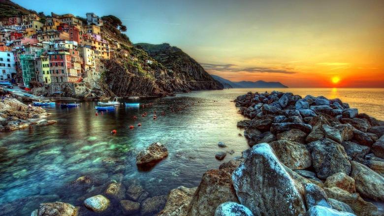 Sunset Amalfi Coast Houses Cliffs Rocks Italy Sun Sea Sunset