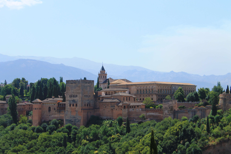 alhambra castle granada landscape mountains nature spain