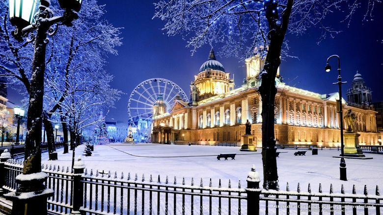 Winter Christmas City Ireland Landscapes Decorations Belfast Snow