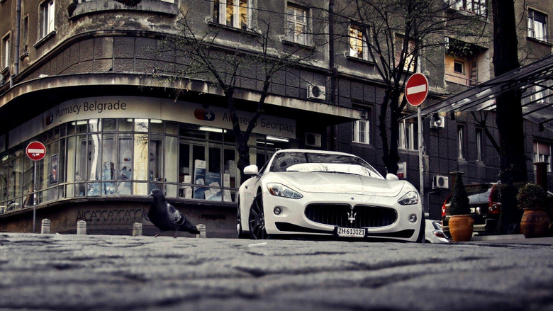 Maserati on the street in Belgrade wallpapers and image