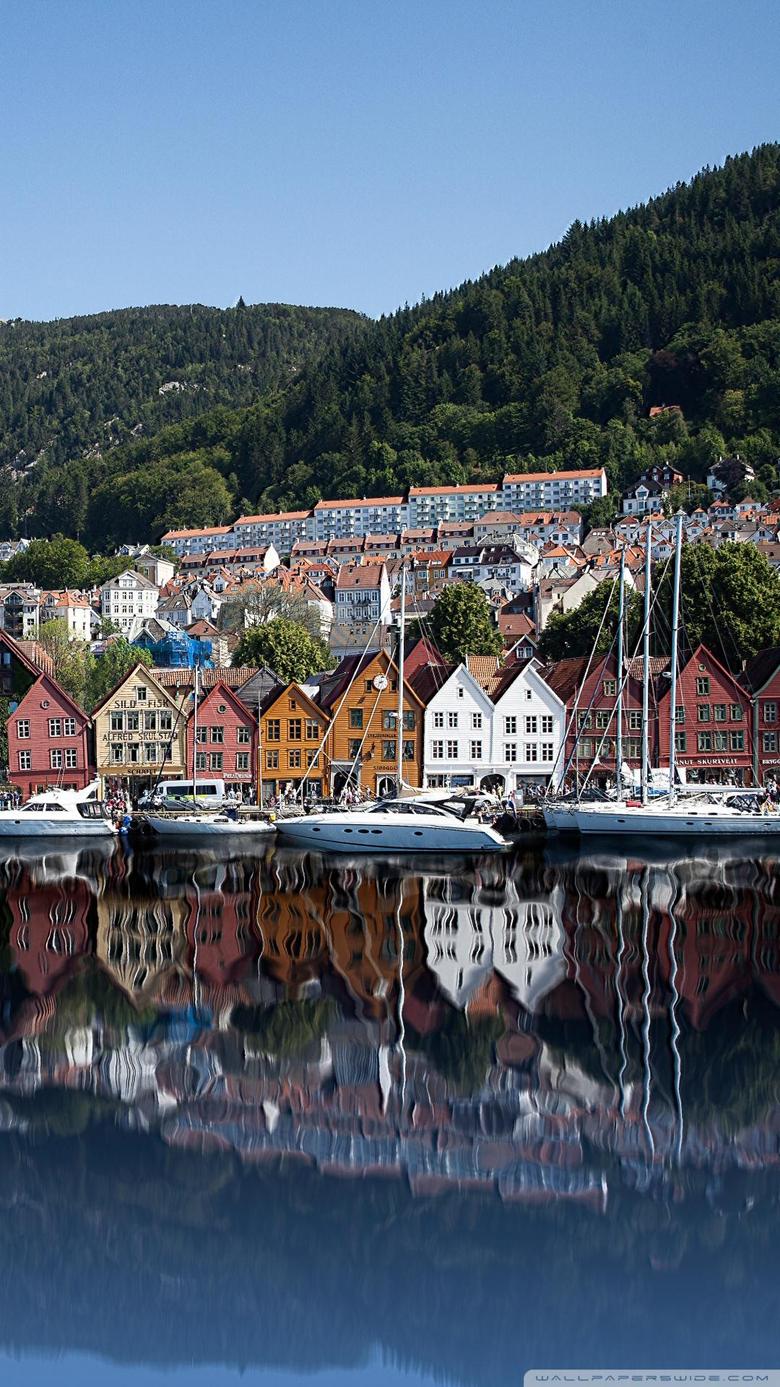 Bryggen Old Wharf Traditional Wooden Buildings Bergen Norway