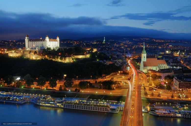 wallpapers Bratislava Slovakia city night desktop
