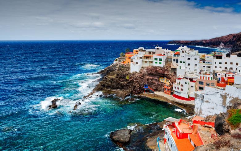 Wallpapers Spain Canary Islands ocean rocks cliffs coast houses