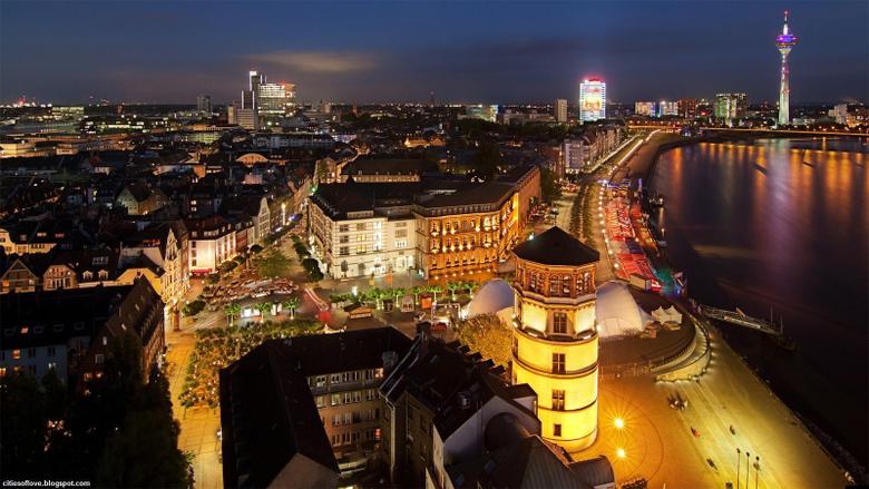 D sseldorf Colourful German City Beautiful Night View Germany Hd