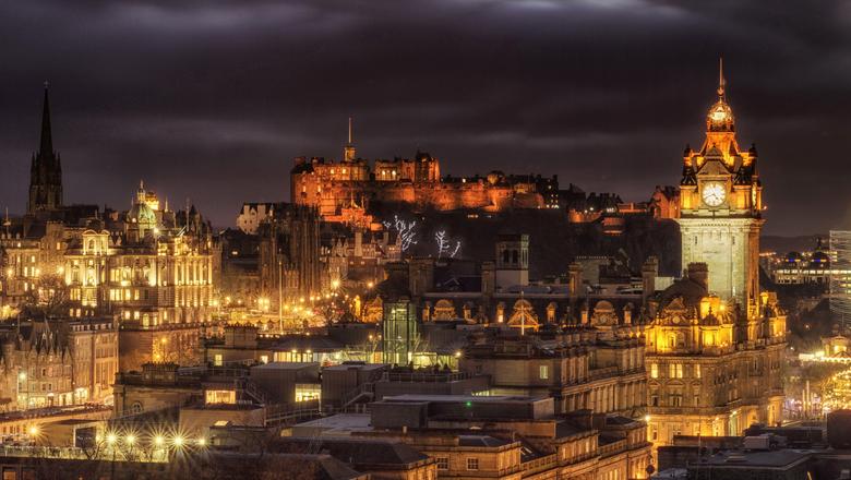 Photo Edinburgh Scotland United Kingdom Castles night time Cities