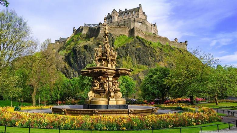 Princes Street Gardens with the Ross Fountain Edinburgh Scotland