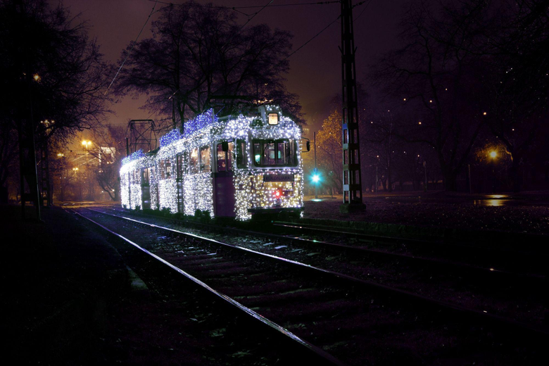 Train Covered with Holiday Lights Budapest Hungary widescreen