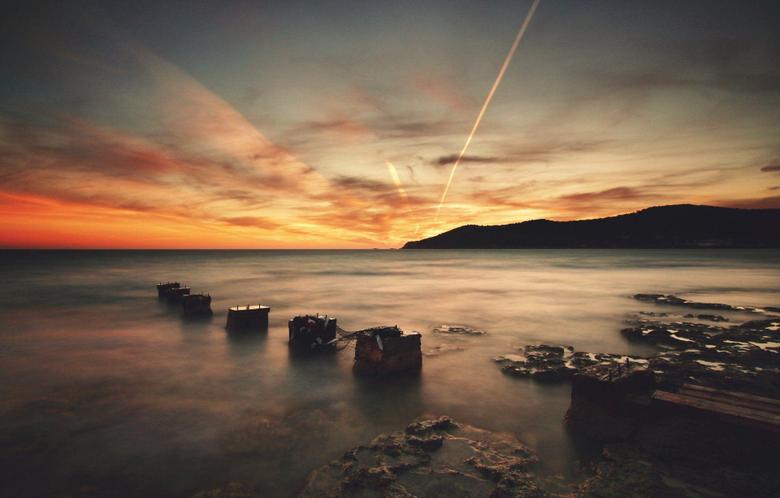 ibiza beach water stones night rays HD wallpapers