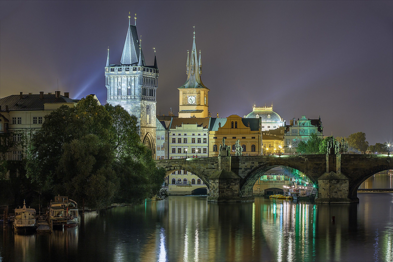Ancient Prague Night Reflection River Buildings Lights Charles
