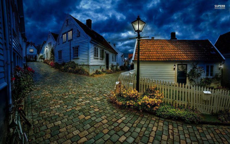 Street In Small Norwegian Town Wallpapers