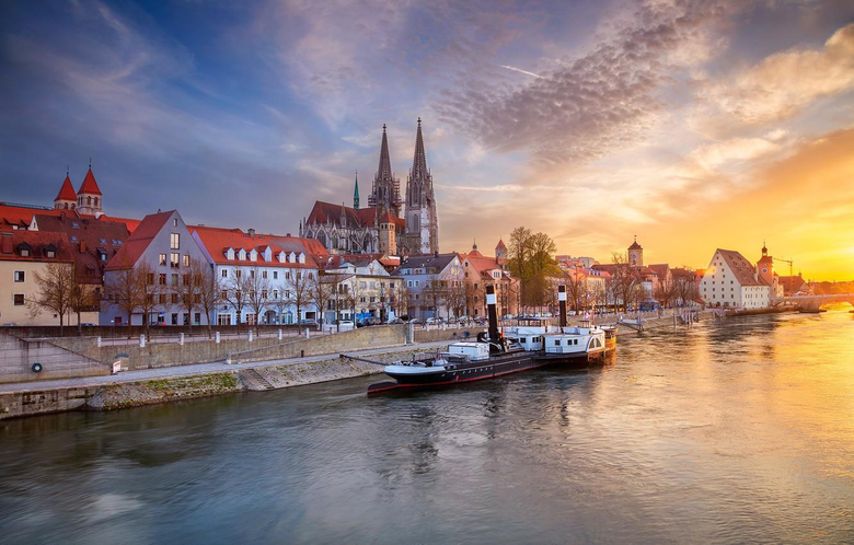 Wallpapers the sky sunset river building home Germany Bayern