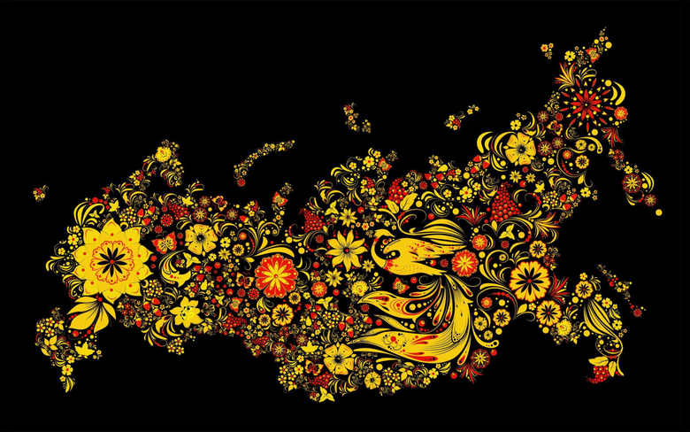 Traditional painting on the map of Russia wallpapers and image