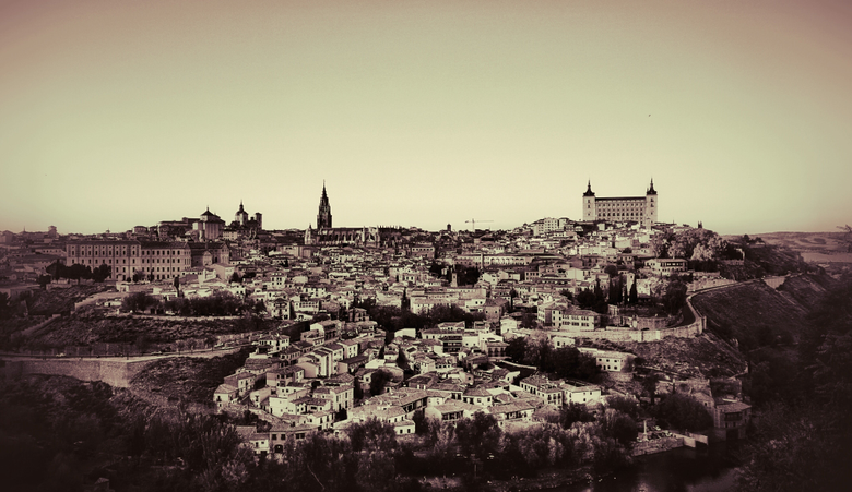 toledo city spain duotone photograph cityscape wallpapers and backgrounds