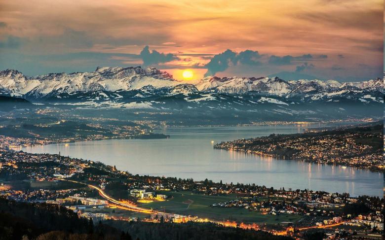 nature Landscape Panoramas Lake Zurich Switzerland Cityscape