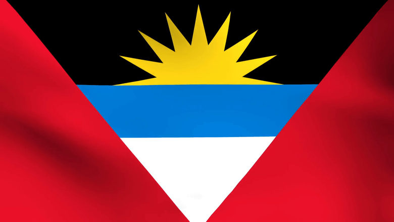 National flag of Antigua and Barbuda Stock Video Footage