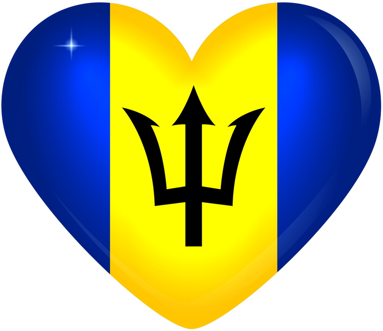 Barbados Large Heart Flag