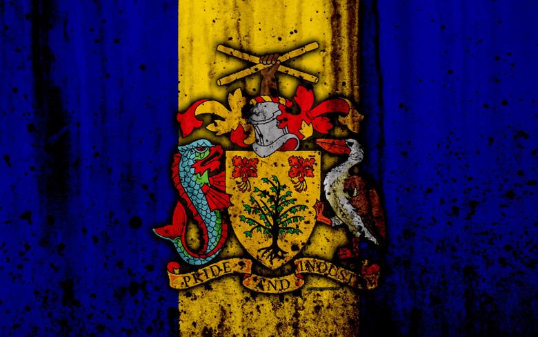wallpapers Barbados flag 4k grunge flag of Barbados
