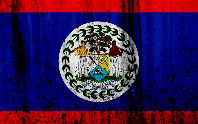 wallpapers Belize flag 4k grunge North America flag of