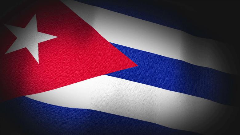 K 3D Animation of Cuba Cuban Flag Closeup Canvas Texture Motion