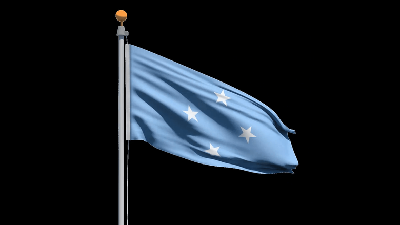 Flag of the Federated States of Micronesia waving in the wind with