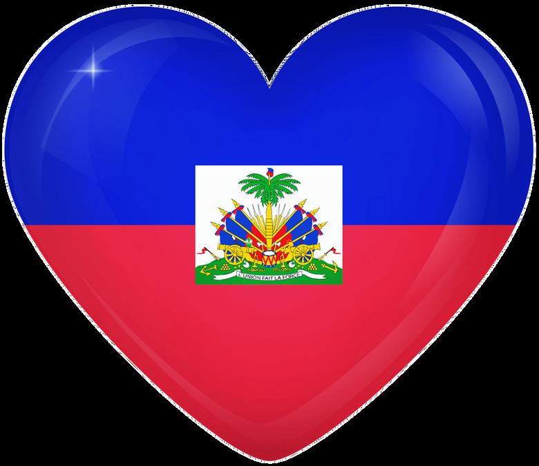 Haiti Large Heart Flag