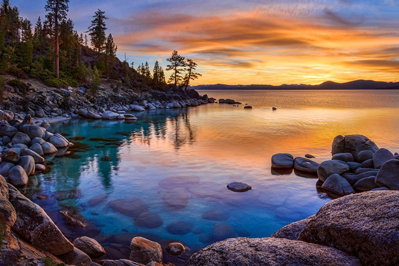 Wallpapers California USA Nature Lake Coast Stones