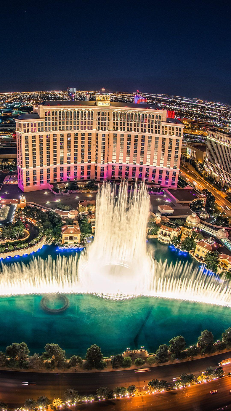 Bellagio Hotel Las Vegas Fountain Show Top View Wallpapers