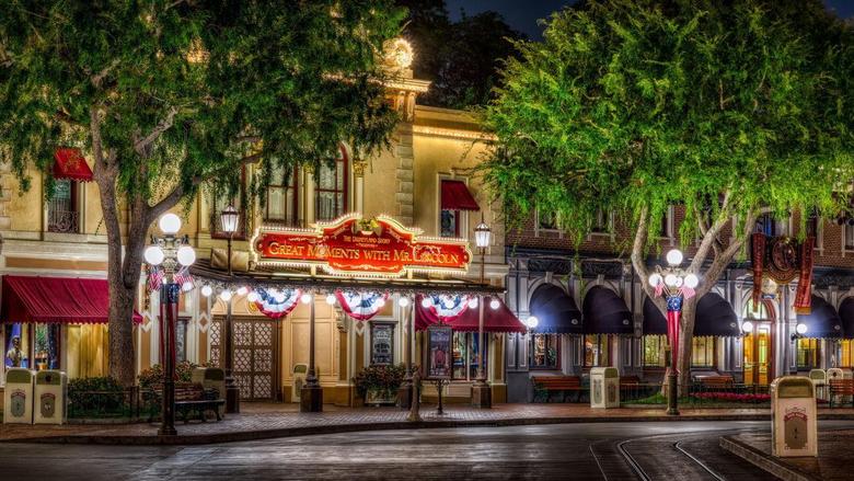 Disneyland buildings amusement parks hdr trees festive wallpapers