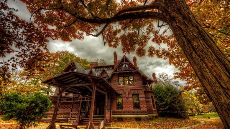 Houses Mark Twain House Hartford Connecticut Autumn Museum Trees
