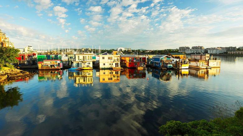 Houseboats at Fisherman s Wharf marina Victoria British Columbia