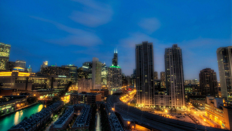 Night Chicago Illinois City Wallpapers