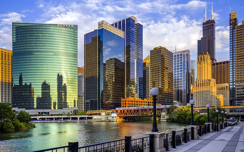 Chicago Illinois USA river bridge skyscrapers wallpapers