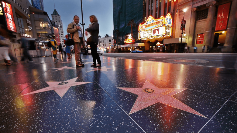 Hollywood Walk of Fame stars at dusk Timelapse Stock Video Footage