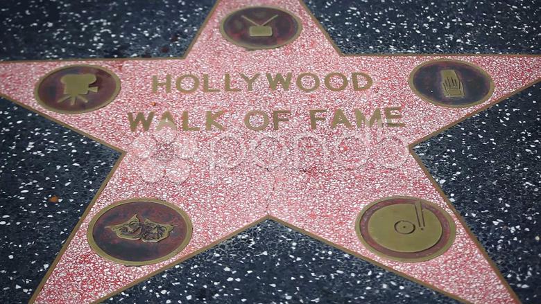 Movie celebreties stars on Walk of Fame in Hollywood in Los Angeles