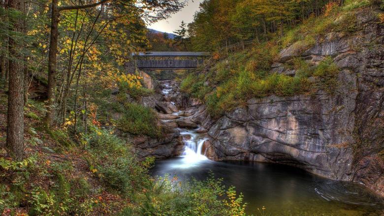 Bridges Covered Bridge Franconia State Park New Hampshire River