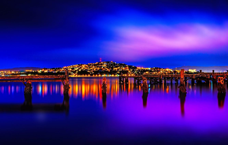 Wallpapers landscape night lights New Zealand Wellington image