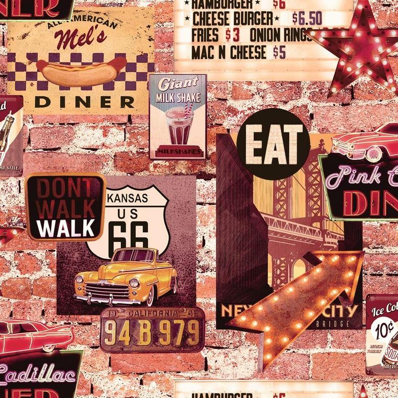 Arthouse American Diner Retro 60s Brick Pattern Restaurant Wallpapers