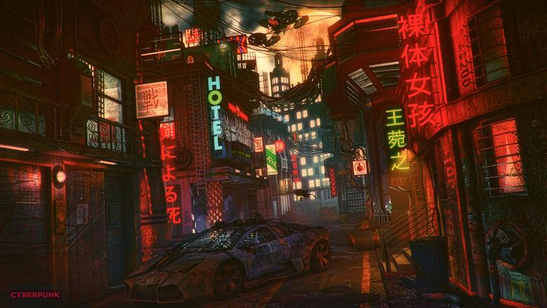 Wallpapers 4k Futuristic Cyber City Lamborghini Night 4k 4k