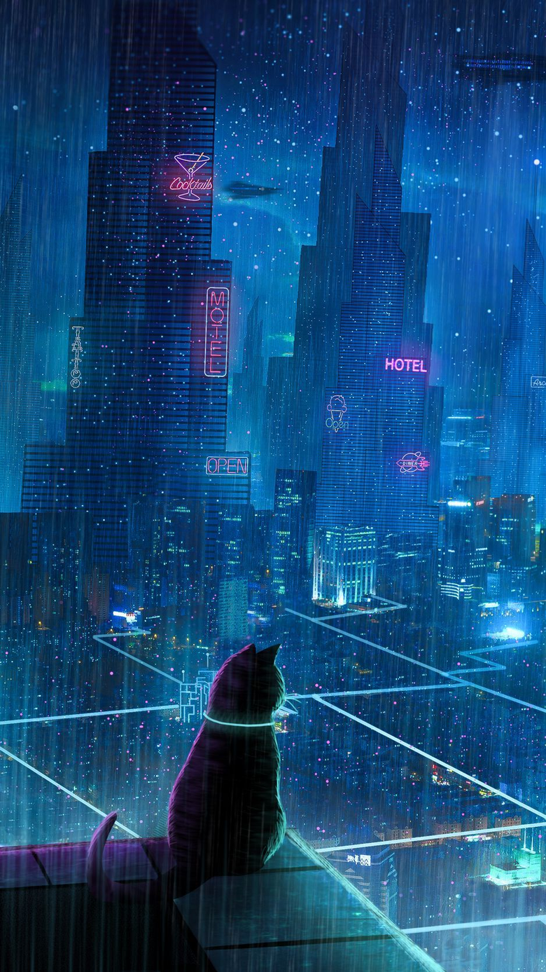 wallpapers 938x1668 cat roof city neon lights metropolis future cyberpunk iphone 8 7 6s 6 for parallax hd backgrounds