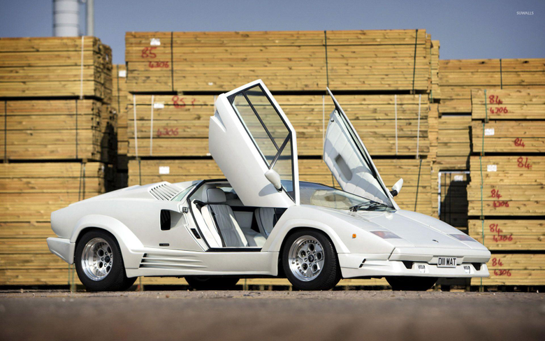 White Lamborghini Countach with opened doors wallpapers