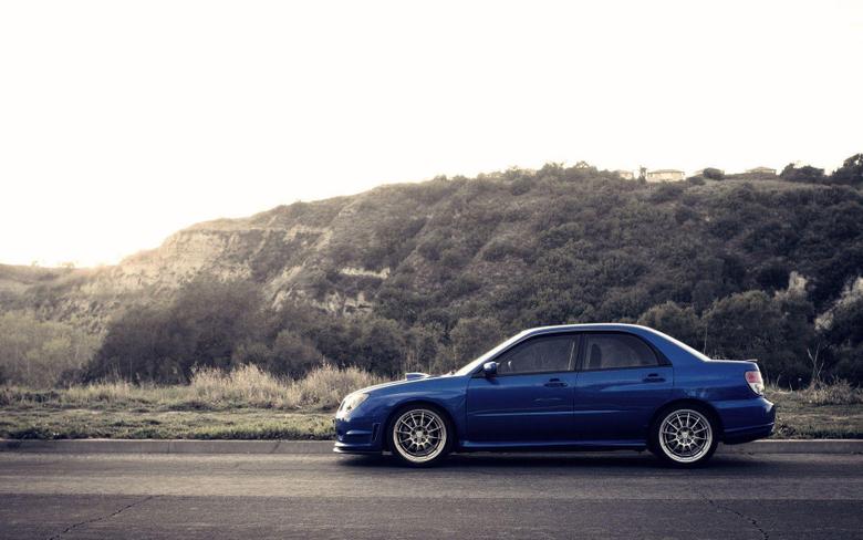 wallpapers Subaru Impreza blue Hills desktop