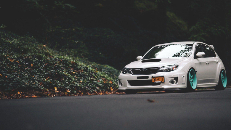 Subaru Impreza Road Forest Fall Leaves HD Wallpapers