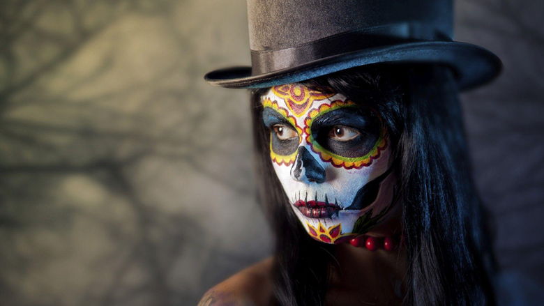 women Face Artwork Photography Sugar Skull Top hat Closeup
