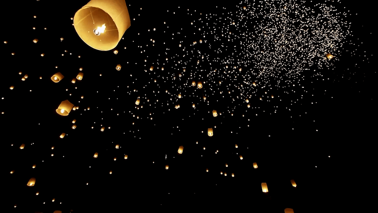 Loi Krathong Festival Floating Lanterns in the Night Sky in Chiang