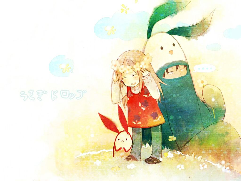 Wallpapers illustration cartoon Usagi Drop Kaga Rin Kawachi