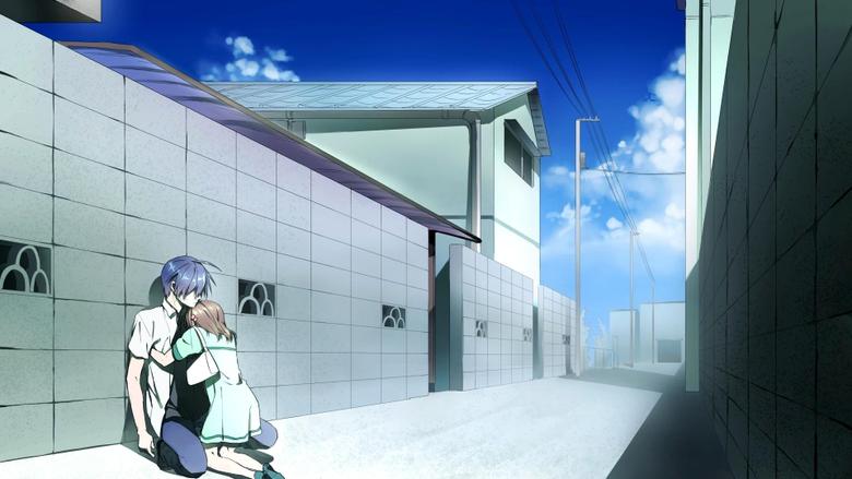 Wallpapers city architecture anime blue Clannad Tomoya Okazaki
